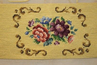 Floral Bouquet Rose Needlepoint Completed Finished Wool Seat Tan Purple and Pink