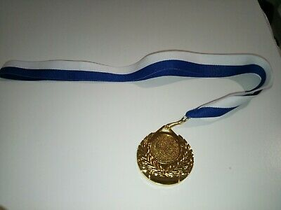 10 x Sports Medals Gold with blue white ribbon - cheap- medallions awards trophy