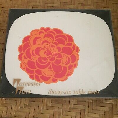 Vintage Retro Savoy Six Table PlaceMats Worcester Ware England Box As New Floral