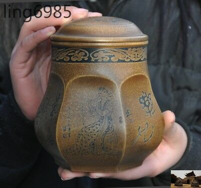 Marked China Yixing Zisha Pottery carved belle statue Tea pot tea caddy canister