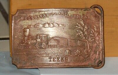 Wells Fargo & Co Texas Train Brass Belt Buckle - Tiffany NY