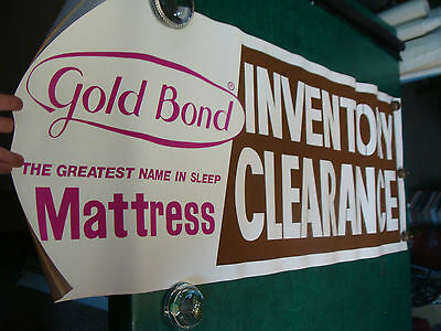 original vintage Poster: GOLD BOND MATTRESS Clearence poster/sign 1980's 49x19""