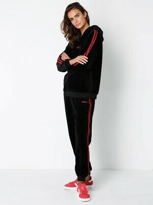 Stussy Black And Red Stripe Velour Tracksuit Size 10
