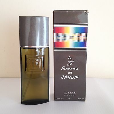 Le 3 Homme de Caron For Men 50ml Eau de Toilette Spray. RARE Vintage 80s'
