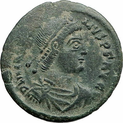 MAGNUS MAXIMUS Authentic Ancient 383AD Arles Genuine Roman Coin w WOMAN i74898