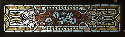 Antique American Stained & Jeweled Floral Transom