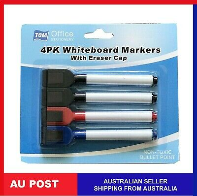 4Pcs Whiteboard Erasable Dry Erase Magnetic Marker Pen Eraser School White Board