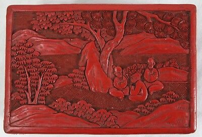 Damaged Antique Chinese Cinnabar Box Carved Red Lacquer Men Cherry Blossom Tree