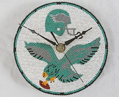 "Hand Beaded Philadephia Eagles 6"" Wall Clock Medallion NFL Sports Football"