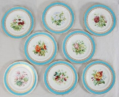 """Antique 1870's Copeland China Hand Painted Floral 9.5"""" Plate Set (8) Gilt Gold"""