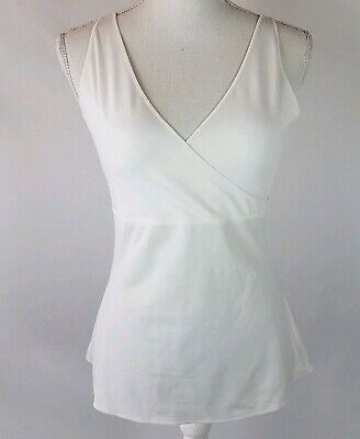 ff072e4f2505e Spanx Womens Size Large Cross Front Slimming Tank Top White Compression  Shape