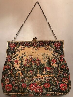 FAB! Antique French Petit Point Castle Scene w Floral Embroidered Purse