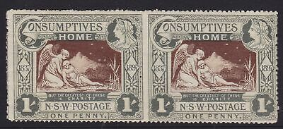 New South Wales Rare 1897 1D Qv Consumptive Home Charity Pair Mnh (Hc76 )