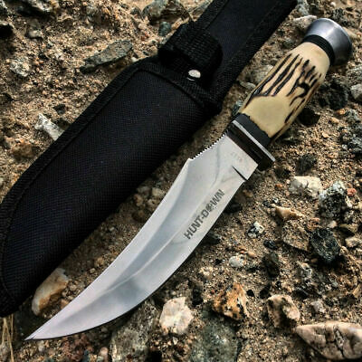 "8.5"" Combat Hunt-Down Fixed Blade Knife With Engraved Handle Survival Hunting"