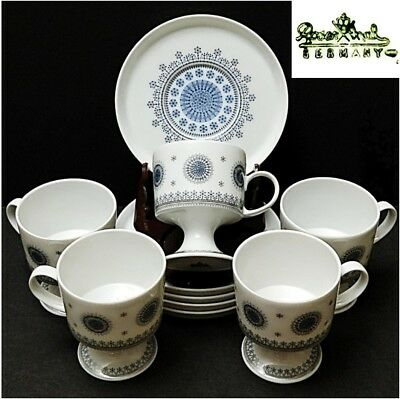 "10 Pcs Vintage Rosenthal Ice Blossom Blue/Gray/White Cups and Saucers Set ""MINT"""