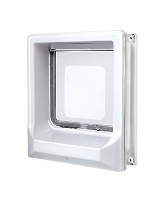 Zolux Catwalk Magnetic 4-Way Cat Flap, White, with 3 three magnets