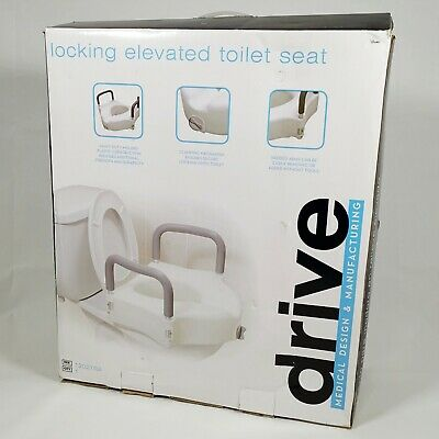 Drive Medical Locking Elevated Toilet Seat with Safety Rails | Mobility Aid NEW