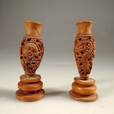 CHINESE Vases Antique PAIR OF OLD HAND CARVED WOODEN MINIATURE DRAGON VASES