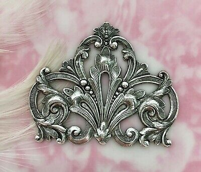 ANTIQUE SILVER FLOURISH SCROLL CREST Stamping ~ Oxidized Finding (FA-6081)