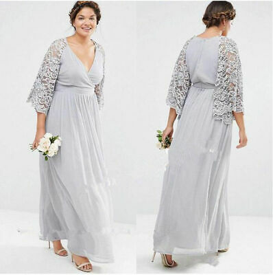 Plus Size Silver Mother Of The Bride Dress Chiffon Lace V