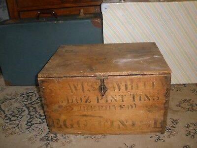 VINTAGE OLD Rustic BOX ADVERTISING WOODEN CRATE Lewis & White EGG FINISH