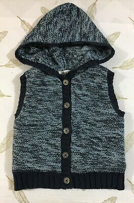 Cotton On Baby Boys Knit Hooded Vest 6-12 Months 0