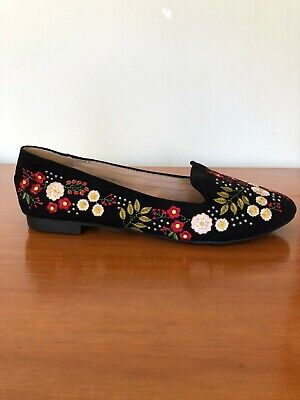 Topshop floral embroided loafer flats, womens EU 38
