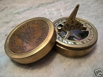The Mary Rose Brass Box Sundial Compass Antique Nautical Decorative Gift