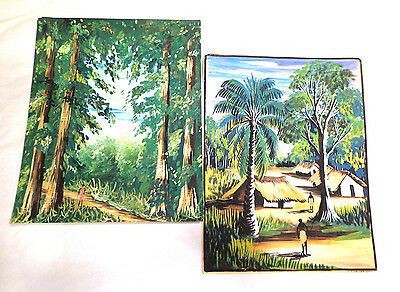 vintage Native village, orginal watercolor art, two 6 1/2''  x 8'' paintings