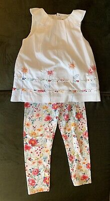 Sarah Louise Size 6 Girls White Floral Blouse And Leggings Set