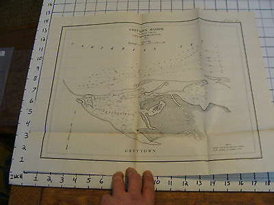 Early 1900's Original chart ISTHMIAN CANAL: greytown harbor data from 1872 #58