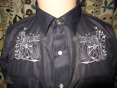 Vintage H Bar C Ranchwear Shirt men's Med 1970s Western Dacron Black Wagon Wheel