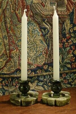 A Pair Of Old Vintage Irish * Green Connemara Marble * Shamrock * Candlesticks