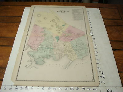 """1870's MASSACHUSETTS TOWN MAP 16"""" X 26"""": LYNN 80 Rrods to the inch"""