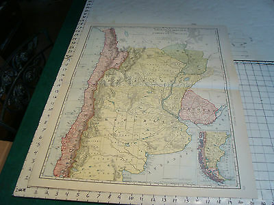 Vintage Original 1898 Rand McNally Map: ARGENTINE CHILE PARAGUAY, 28 x 21""