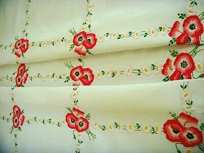 Fairistytch Vintage Large Linen Hand Embroidered Tablecloth ~ Poppies & Daisies