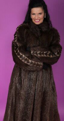 Beautiful Dark Brown Beaver Fur Ivory Mink Full Length Coat from Whole Skins Med