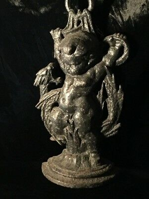 Wicked Antique Victorian Gothic Serpent Door Stop Dragon Snake Putti Doorstop