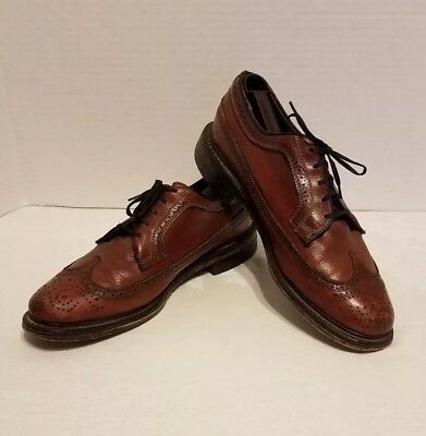 5f99b9afeecd Vintage JC Penney Shoe Classics Brown Leather Longwing Wingtip Oxfords  Men s 10