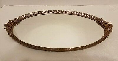 "24K Gold Plated Matson Mirrored Vanity Dresser Tray 16.75"" Filigree Roses floral"