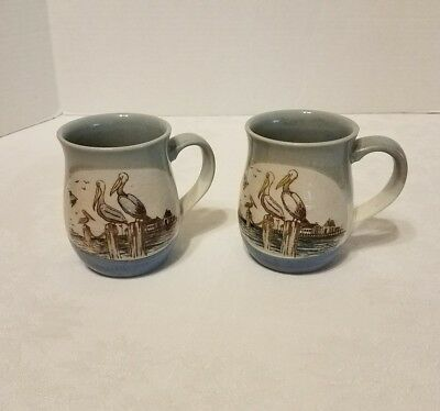 Stoneware Pottery Coffee Cups Pelicans fishing boat dock blue mugs set of 2
