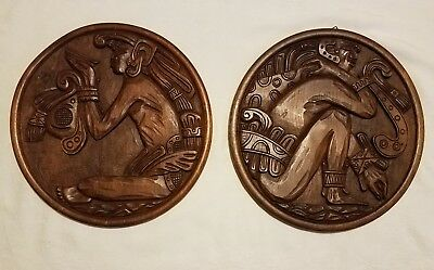 EL SALVADOR C. A. carved Wooden Folk Art Round Wall Hangings set of two 16""