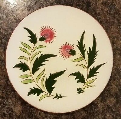 "Vintage mid century Stangl pottery THISTLE 9"" Dinner Plate green pink & purple"