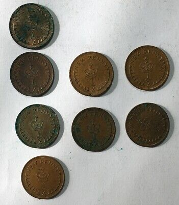 8 x Decimal Half New Penny Coins. 1/2 New Pence