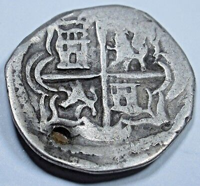 1500's Spanish Silver 1 Real Cob Piece of 8 Coin Colonial Pirate Treasure Coin