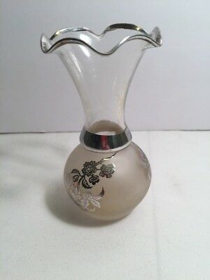 """Antique Art Nouveau Sterling Silver Overlay Glass Vase 5"""" tall"""