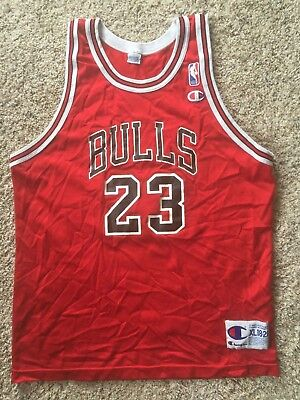 Red Vtg 90s Champion Michael Jordan #23 Chicago Bulls Jersey Mens 40 M Youth XL