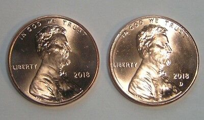 (Look)    2018  &  2018 D  Lincoln .cent Shield Penny   Mint Luster