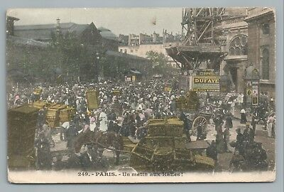 "Paris ""Un Matin aux Halles!"" Market Day CPA Antique Hand Colored French 1910s"