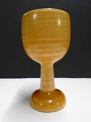 "Turned Wooden Cup  Made from One Piece of Tiger Maple 5 1/2"" New Condition"